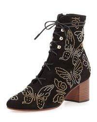 Valentino | Black Butterfly-studded Lace-up Boot | Lyst