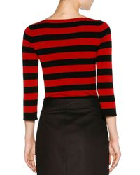 Tomas Maier - Red Striped Boat-neck 3/4-sleeve Tee - Lyst