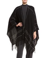 Eileen Fisher | Black Wool-blend Twill Graph Serape | Lyst