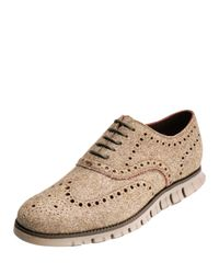 Cole Haan | Natural Zerogrand Wing-tip Wool Oxford Shoe | Lyst