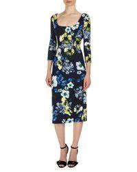 Erdem - Blue Tess 3/4-sleeve Floral-print Dress - Lyst