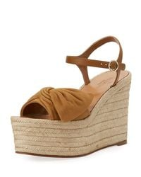 Valentino | Brown Tropical Bow Espadrille Wedge Sandal | Lyst