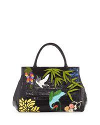 Nancy Gonzalez | Black Daisy Medium Japan Landscape Crocodile Satchel Bag | Lyst