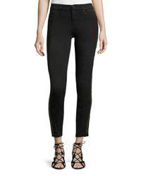 Hudson Jeans - Black Luna Mid-rise Super Skinny Ankle Jeans W/glitter Stripe - Lyst