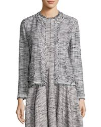 Rebecca Taylor | Black Fringe-trim Boucle Tweed Jacket | Lyst
