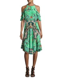 Etro | Green Tropical-print Ruffled Cold-shoulder Dress | Lyst