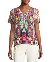 Etro | Multicolor Batik Short-sleeve V-neck Tee | Lyst