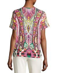 Etro - Multicolor Batik Short-sleeve V-neck Tee - Lyst