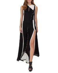 Akris   Black Equation-print Pleated Keyhole Sleeveless Gown   Lyst