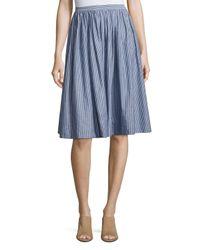Vince | Blue Pencil-stripe Shirred Full Skirt | Lyst