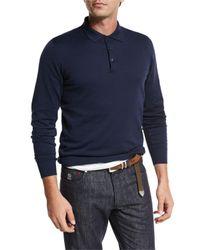 Brunello Cucinelli | Blue Long-sleeve Polo Shirt for Men | Lyst