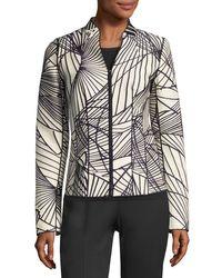 Lafayette 148 New York   Black Linette Zip-front Spiral-print Jacquard Jacket   Lyst