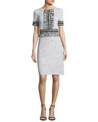 St. John | White Nita Speckled Tweed Short-sleeve Dress | Lyst