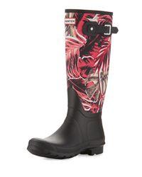 HUNTER | Black Original Tall Jungle-print Rain Boots | Lyst