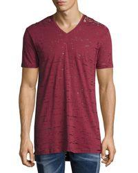 DIESEL | Red Garment-wash Burnout V-neck T-shirt for Men | Lyst