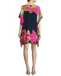 Trina Turk | Pink Theodora Floral Silk Tunic | Lyst