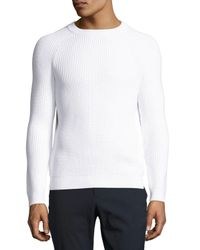 Theory | White Martig Barnev Ribbed Sweater for Men | Lyst