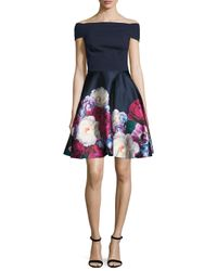 Ted Baker - Blue Nersi Blushing Bouquet Floral-print Off-the-shoulder Bardot Dress - Lyst