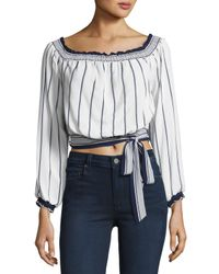 Lovers + Friends - Multicolor Cannes Off-the-shoulder Belted Crop Top - Lyst