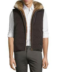 Billy Reid | Black Reversible Down Rabbit-lined Bomber Vest for Men | Lyst