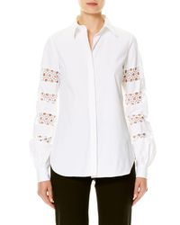 Carolina Herrera | White Lace-inset Cotton Blouse | Lyst