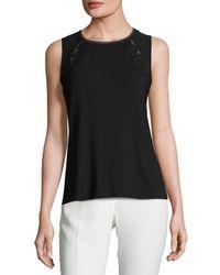 Elie Tahari | Black Murphy Sleeveless Lace-trim Knit Top | Lyst