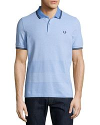 Fred Perry | Blue Oxford-stripe Piqué Polo Shirt for Men | Lyst