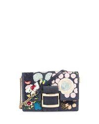 Roger Vivier | Blue Viv Micro Floral Denim Chain Shoulder Bag | Lyst