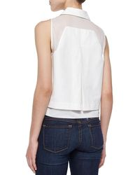 Parker - White Norway Sleeveless Combo Blouse - Lyst