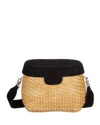 Edie Parker   Black Jane Suede & Straw Basket Crossbody Bag   Lyst