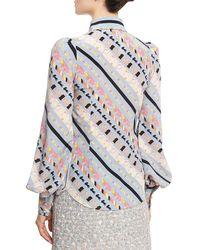 Marc Jacobs - Blue Printed Tie-neck Bishop-sleeve Blouse - Lyst