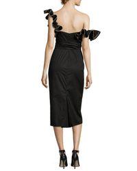 Johanna Ortiz - Black Flamingo One-sleeve Wrap-waist Dress - Lyst