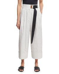 Tibi | White Cecil Striped Culottes With D-ring Belt | Lyst