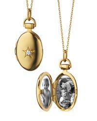 Monica Rich Kosann | Metallic 18k Gold Petite Oval Locket Necklace With Diamond Star | Lyst