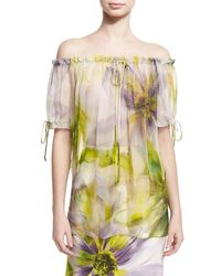 Naeem Khan   Yellow Floral Off-the-shoulder Blouse   Lyst