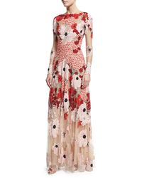Naeem Khan   Pink Floral Embroidered Long-sleeve Gown   Lyst