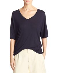 Vince | Blue Drop-shoulder V-neck Jersey T-shirt | Lyst