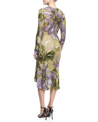 Naeem Khan - Purple Long-sleeve Floral Beaded Cocktail Dress - Lyst