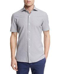 Ermenegildo Zegna | Gray Seersucker Short-sleeve Shirt for Men | Lyst