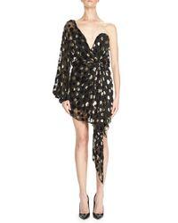 Saint Laurent | Black One-shoulder Lamé Polka Dot Dress | Lyst
