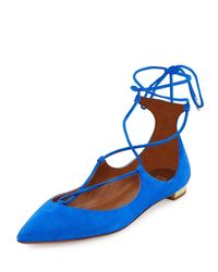 Aquazzura | Blue Christy Suede Lace-up Pointed-toe Flat | Lyst
