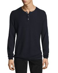 Vince - Blue Jersey Mix-stitch Long-sleeve Henley T-shirt for Men - Lyst