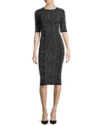 Michael Kors | Black Leopard-print Half-sleeve Midi Dress | Lyst