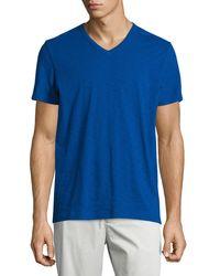 Vince | Blue Slub Short-sleeve V-neck Tee for Men | Lyst
