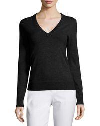 Michael Kors | Black V-neck Slash-back Cashmere Sweater | Lyst