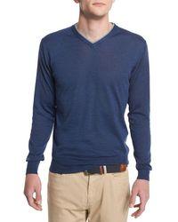 Peter Millar - Purple Collection Merino-silk V-neck Sweater for Men - Lyst