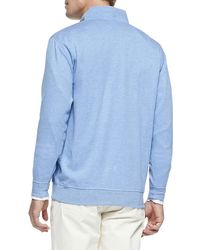 Peter Millar - Blue Cotton-blend 1/2-zip Pullover for Men - Lyst