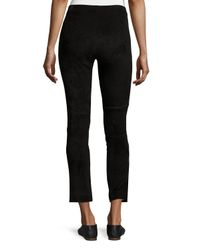 VINCE | Black Stretch-suede Cropped Pants | Lyst