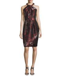 Carmen Marc Valvo | Multicolor Sleeveless Floral Sheath Dress | Lyst