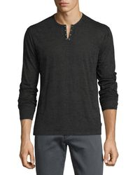 John Varvatos | Multicolor Eyelet Burnout Henley T-shirt for Men | Lyst